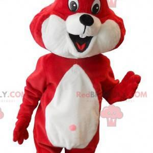 Červený a bílý králík maskot - Redbrokoly.com