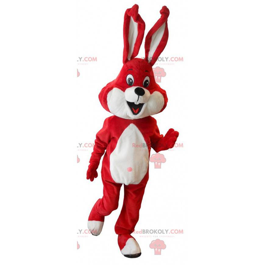 Rød og hvit kaninmaskot - Redbrokoly.com