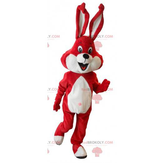 Czerwony i biały królik maskotka - Redbrokoly.com