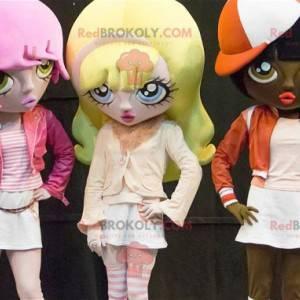 3 Maskottchen von Cartoon-Mädchen mit gefärbten Haaren -