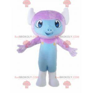 Little monkey mascot purple and blue creature - Redbrokoly.com