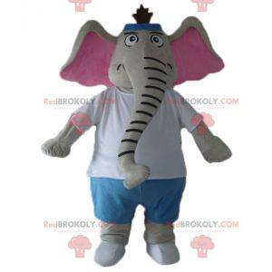 Gray and pink elephant mascot in blue and white outfit -