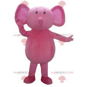 Vollständig anpassbares rosa Elefantenmaskottchen -
