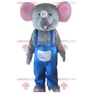 Graues und rosa Elefantenmaskottchen mit blauen Overalls -