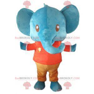 Riesiges blaues Elefantenmaskottchen im roten und orange Outfit