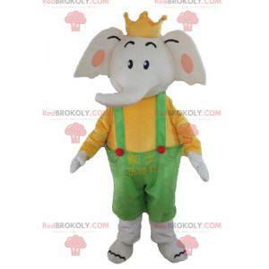 Elephant mascot in yellow and green outfit with a crown -