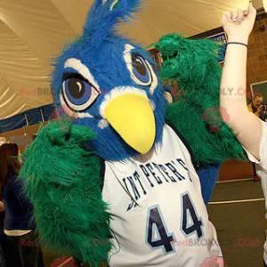 Modrý a zelený pták maskot všechny chlupaté - Redbrokoly.com