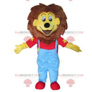 Mascot small yellow and brown lion in blue and red outfit -