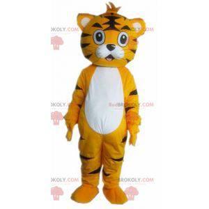 Oranžový bílý a černý kočičí tygr maskot - Redbrokoly.com