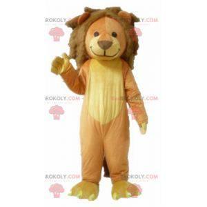 Měkký a roztomilý hnědý a žlutý lev maskot - Redbrokoly.com