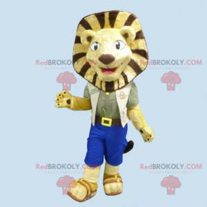 Lion maskot gul og brun løve i utforsker - Redbrokoly.com