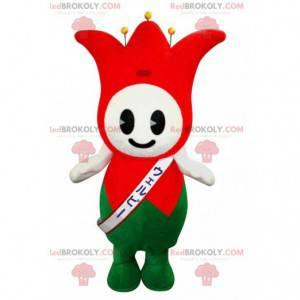 Czerwony i zielony błazen maskotka króla tulipanów -