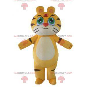 Kan tilpasses gul hvit og svart katt tiger maskot -