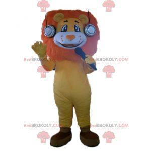 Oranžově žlutý a bílý lev maskot s krásnou hřívou -