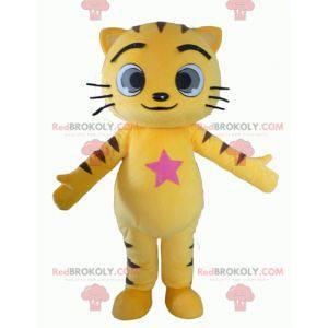 Gelbes und schwarzes Katzenmaskottchen mit großen Augen -