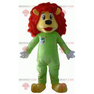 Maskot žlutý a červený lev se zelenou kombinací - Redbrokoly.com