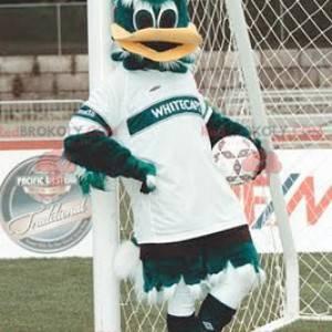 Grünes und weißes Entenmaskottchen in der Sportbekleidung -