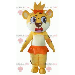 Löwenbaby Maskottchen gelb weiß und orange - Redbrokoly.com