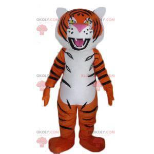 Brüllendes Schwarz-Weiß-Orange-Tiger-Maskottchen -