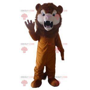 Řvoucí kočičí hnědý lev maskot - Redbrokoly.com