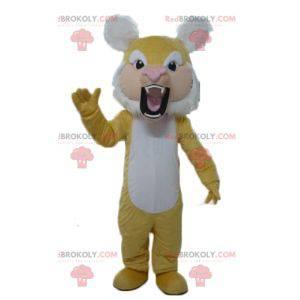 Brüllendes gelbes und weißes Tigermaskottchen - Redbrokoly.com