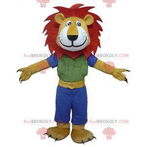 Mascot yellow white and red lion with a colorful outfit -