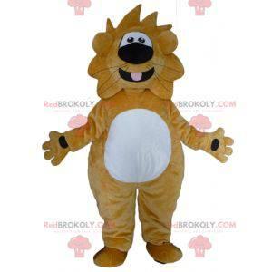 Maskot velký žlutý a bílý lev zábavný a přátelský -