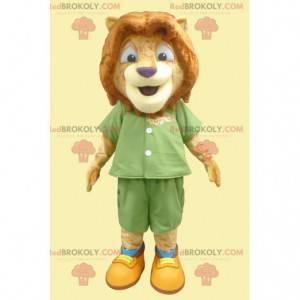 Mascot lion cub in green outfit - Redbrokoly.com