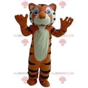 Velmi úspěšný obří černobílý oranžový tygr maskot -