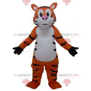 Giant and funny orange white and black tiger mascot -