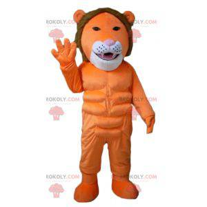Maskot oranžový bílý a hnědý lev velmi originální a barevný -