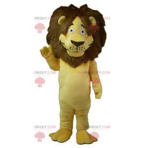 Žlutý a hnědý maskot lva s velkou chlupatou hřívou -