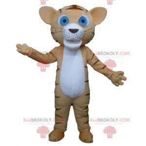 Hnědý a bílý tygr maskot kočka s modrýma očima - Redbrokoly.com