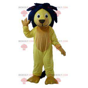 Maskot žlutý lev s modrou hřívou - Redbrokoly.com