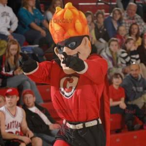 Superhelden-Maskottchen mit flammenden Haaren - Redbrokoly.com