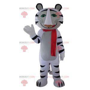 Maskottchen weißer und schwarzer Tiger mit einem roten Schal -