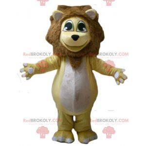 Pulchna i wzruszająca żółta biało-brązowa maskotka lwa -