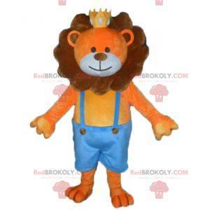 Oransje og brun løve maskot med krone - Redbrokoly.com