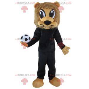 Maskot hnědý lev v černém sportovním oblečení s míčem -