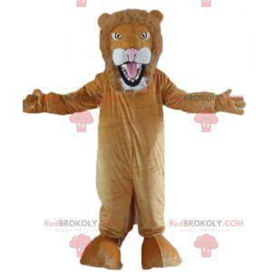 Fully customizable brown and white lion mascot - Redbrokoly.com