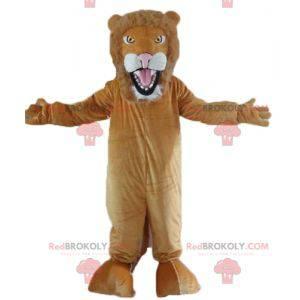 Plně přizpůsobitelný hnědý a bílý lev maskot - Redbrokoly.com