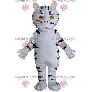 Giant white and black tiger cat mascot - Redbrokoly.com