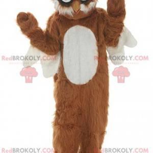Hnědý a bílý sova maskot všechny chlupaté - Redbrokoly.com