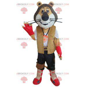 Tricolor lion mascot in biker explorer outfit - Redbrokoly.com