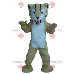 Mascot beige and white tiger looking fierce - Redbrokoly.com