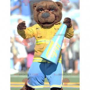 Brown bear mascot dressed as a firefighter - Redbrokoly.com