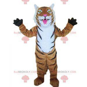 Maskot hnědý bílý a černý tygr - Redbrokoly.com