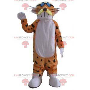 Zábavný a barevný oranžový bílý a černý tygr maskot -