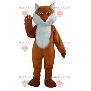 Mascote raposa fofa e peluda laranja e branca - Redbrokoly.com