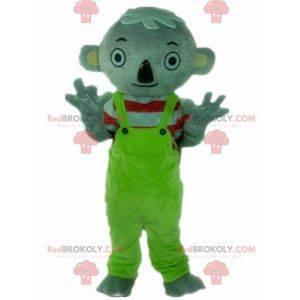 Grijze koala mascotte met groene overall - Redbrokoly.com